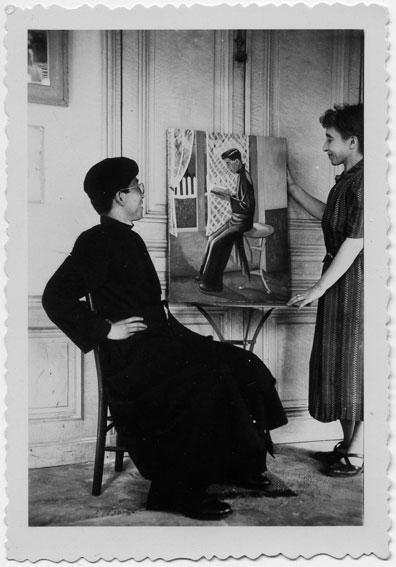 Madeleine-Dines-et-son-modele,-ete-1950.-Copyright-Archives-du-Catalogue-raisonne-Maurice-Denis