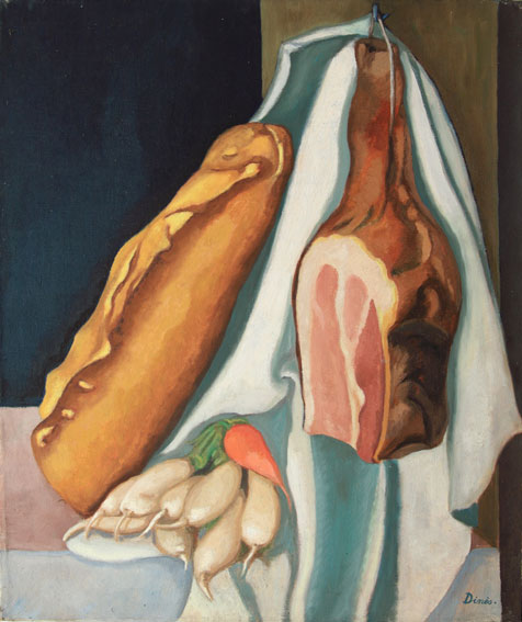 Nature morte au jambon pain et legumes © ADIN