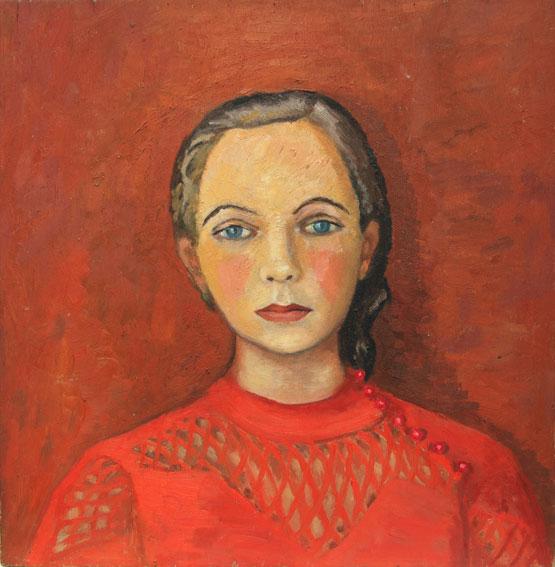 Portrait-de-jeune-fille-au-corsage-rouge-et-boutons-roses,-Copyright-ADIN,-photo-Olivier-Goulet
